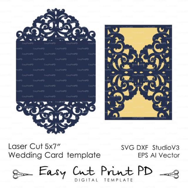 Wedding Invitation Pattern Card Template Lace Folds