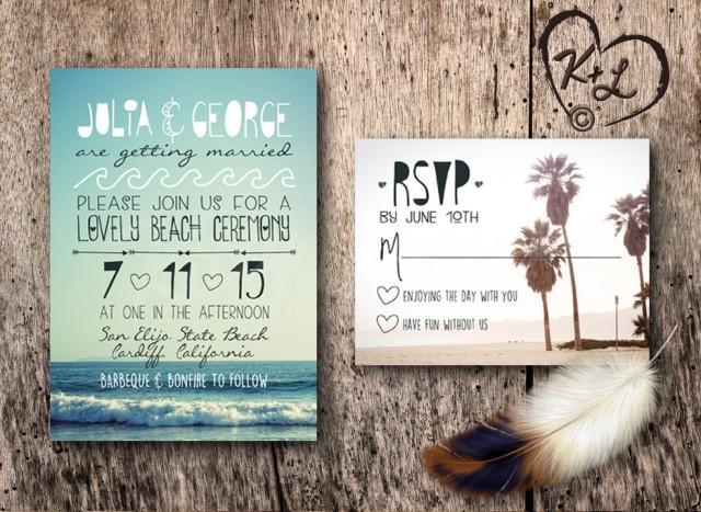 Printable Beach Wedding Invitations: PRINTABLE Bohemian Beach Wedding Invitation Set Boho Chic