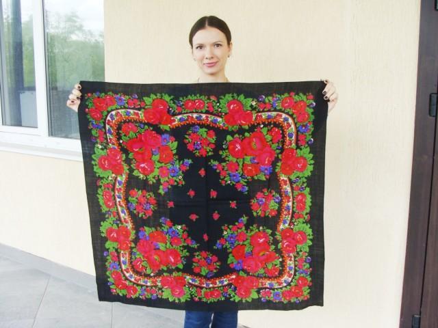 ee786b1b1a Russian Shawl Russian Scarf Chale Russe Ukrainian Shawl Vintage Shawl Wool  Shawl Floral Scarf Black Shawl Head Scarf Folk Shawl Black Scarf #2679304 -  ...