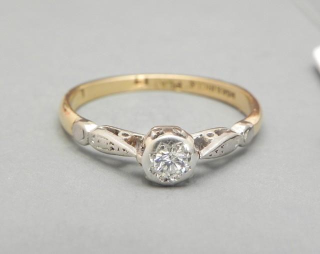 Vintage Diamond Engagement Ring 1920s 0 17ct Diamond Solitaire 18k