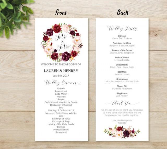 floral wedding program template  printable wedding program  bohemian rustic chic burgundy rose