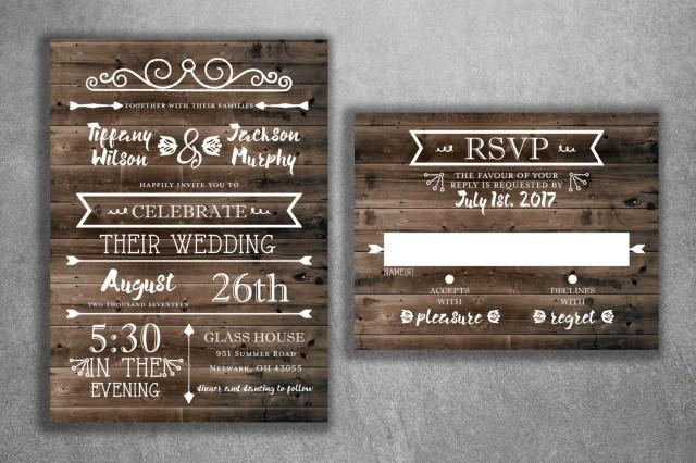 Cheap Wedding Invites Online: Rustic Country Wedding Invitations Set Printed