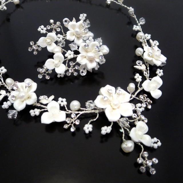 Bridal Flower Necklace And Earrings Wedding Rhinestone Pearl Jewelry Set Swarovski Crystal 2683167