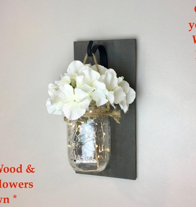 Mason Jar Wall Decor, Decorative Wall Hanging, Mason Jar Sconce ...