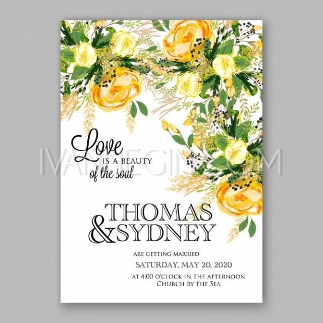 Wedding Invitation Card Template Yellow Rose Floral Printable Gold Bridal Shower Invitation Suite Bo Unique Vector Illustrations Christmas Cards Wedding Invitations Images And Photos By Ivan Negin 2683910 Weddbook,Wedding Dress Fitted Mermaid