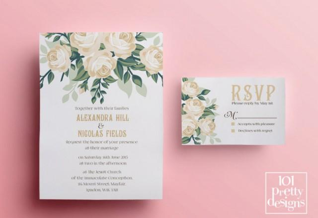 Design And Print Wedding Invitations: Floral Wedding Invitation Template, Printable Wedding