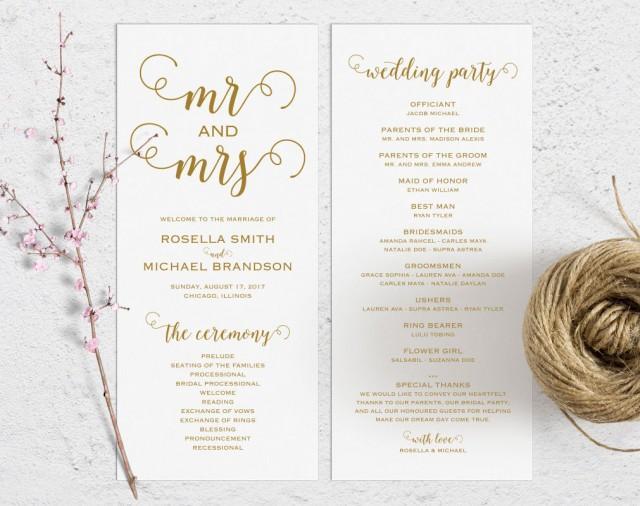 gold wedding program template wedding ceremony program printable
