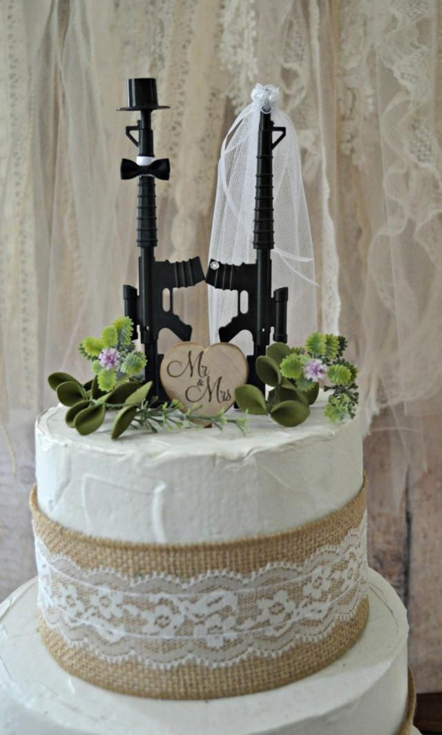 Machine Gun Weapon Wedding Cake Topper Army Police Themed Hunting