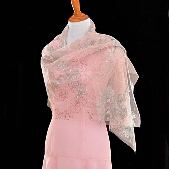Pink Wedding Shawls, Classic Wedding, Floral Glitter Cape, Sheer ...