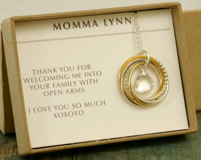 Mother Necklace Of The Groom Gift Family 5 50th Birthday Bride April Birthstone Jewelry