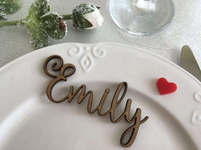 Wooden Table Place Cards Card