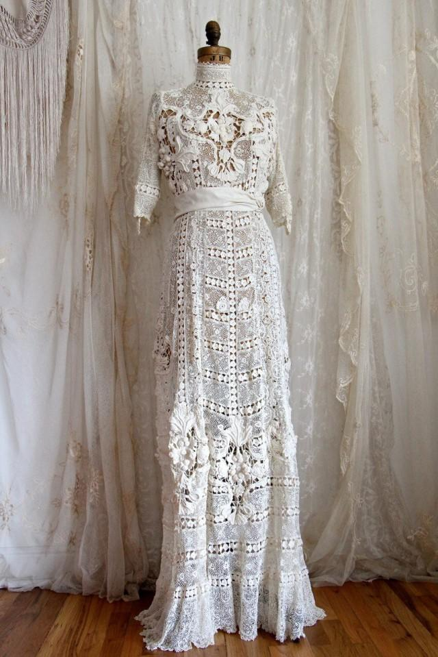 Authentic Antique Wedding Gown / Titanic / Irish Crochet / Ivory ...