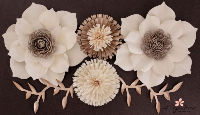Paper Flower Backdrop Large Paper Flowers Wedding Centerpiece