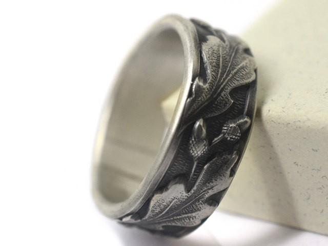 Druid Wedding Band Silver Oak Leaf Amp Acorn Ring Mens