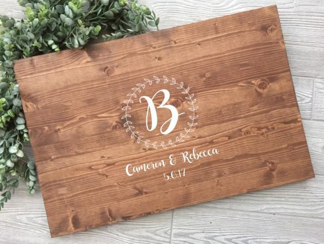 Rustic Wedding Guest Book Alternative Wreath Laurel Names