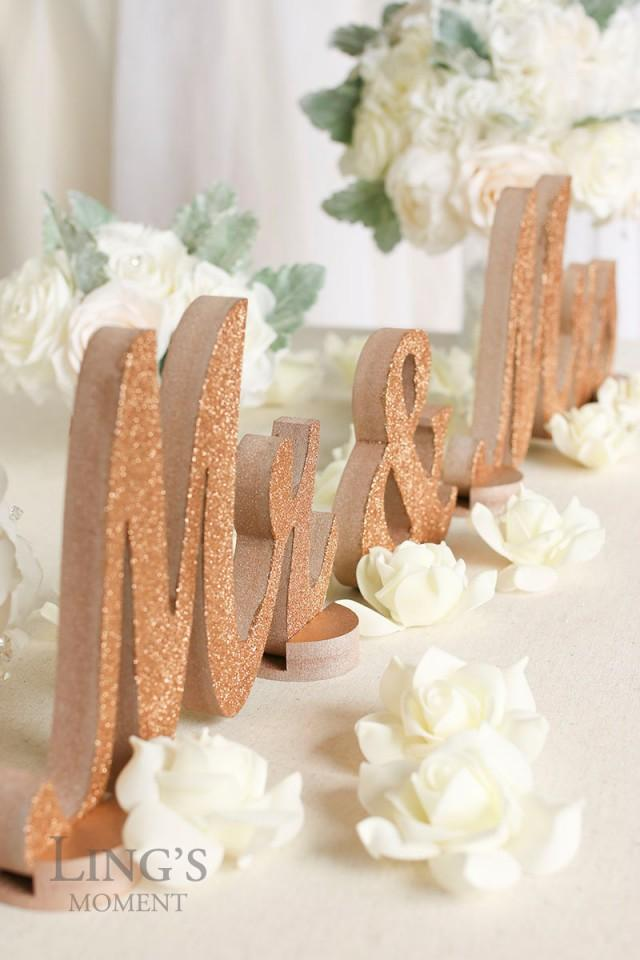 Rose Gold Glitter Mr And Mrs Letters Wedding Decorations