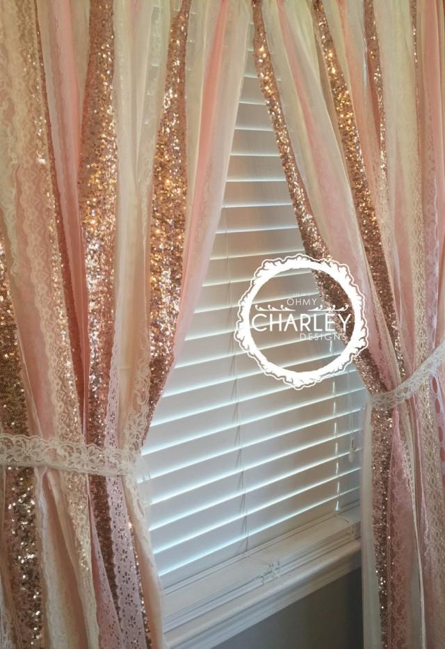 Rose Gold Sparkle Sequin Garland Curtain With Lace