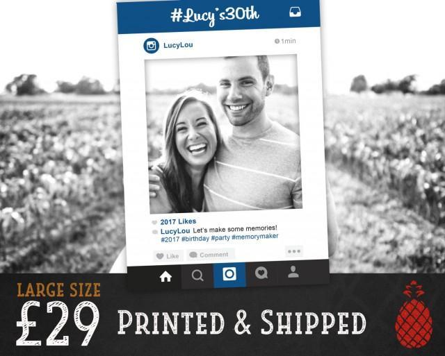 Printed Instagram Frame - Wedding Booth - Birthday - Christmas ...