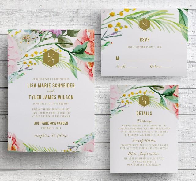 Outdoor Wedding Invitation Wording: Spring Floral Wedding Invitation, Garden Floral, Botanical