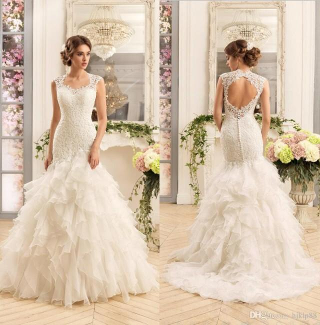 2017 new gorgeous lace mermaid wedding dresses cascading for Cascading ruffles wedding dress