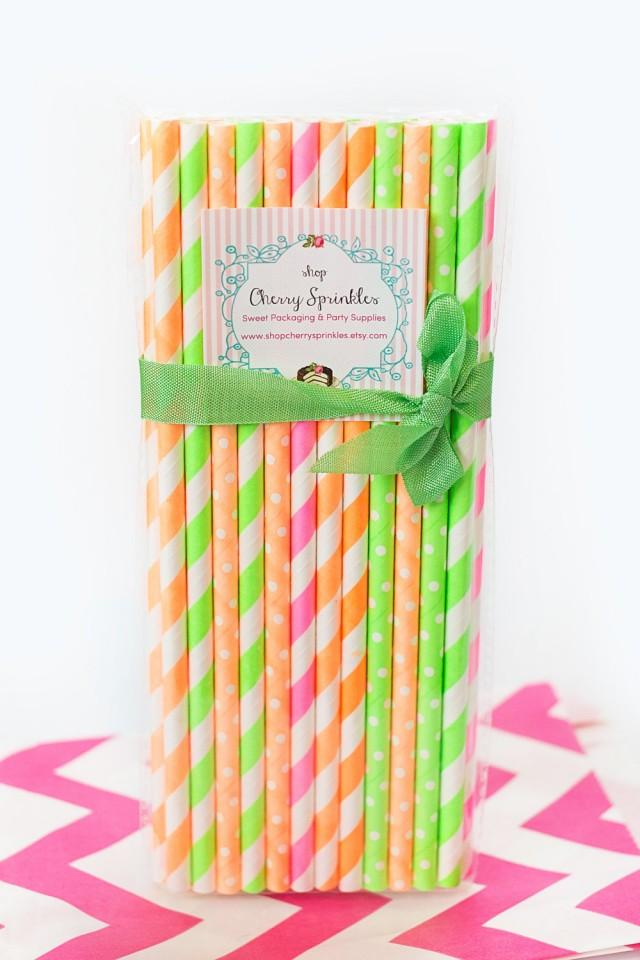 Drinking Straws First Birthday Party Party Straws Pink Paper Straws Orange Paper Straws Pink and Orange Party Paper Straws