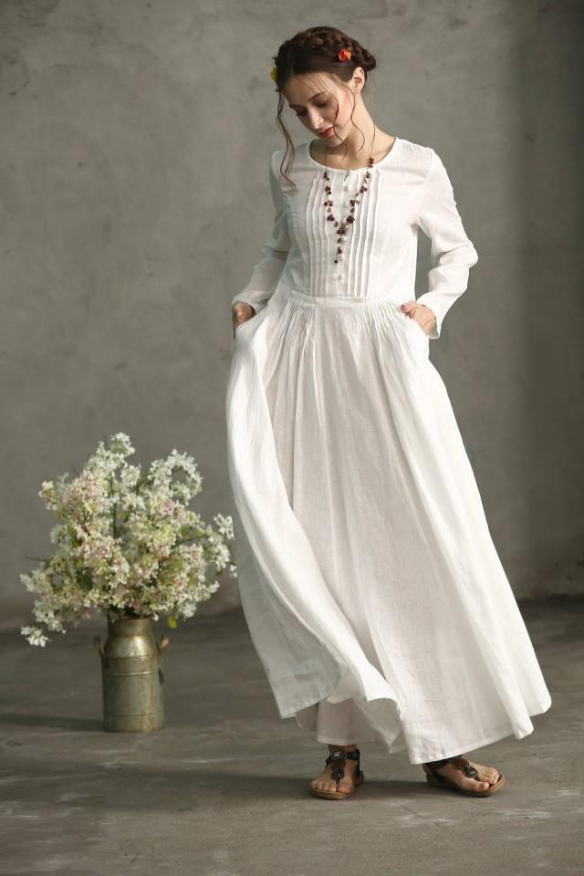 304fe39bda1c White Linen Dress