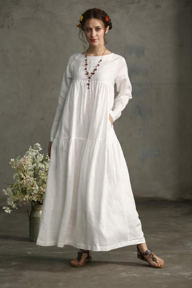 White dress maxi linen dress drop shoulder sleeve dress for Drop sleeve wedding dress