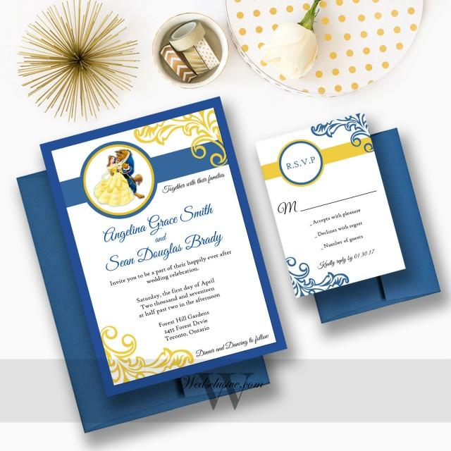 Disney Wedding Invitation: Beauty And The Beast Wedding Invitations, Disney Weddings