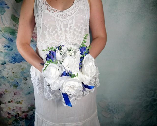 15d0159b5e0 READY To SHIP White Silk Hydrangea Rose Royal Blue Freesia Wedding BOUQUET  Flowers Satin Ribbon Bridesmaid Best Quality Winter Summer Spring  2695111  - ...