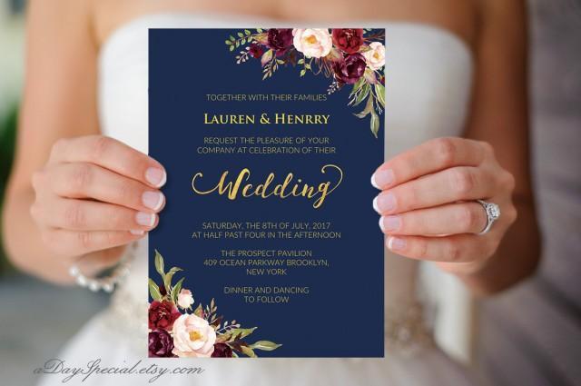 Navy Wedding Template Burgundy Boho Chic Floral