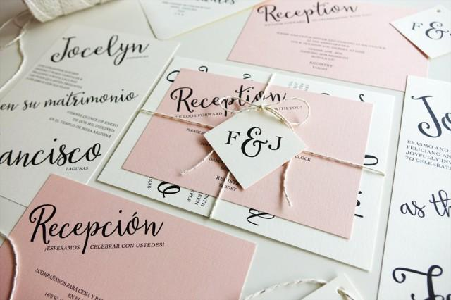 Blush And Ivory Wedding Invitations: Light Pink Wedding Invitations With Ivory Paper, Silver