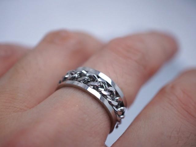 Spinner Ring Silver Braided Ring Mens Rings Custom Engraved