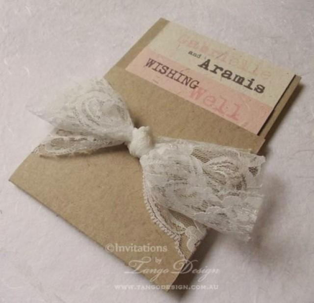 Wedding invitation handmade personalised silver DIY lace rustic shabby elegant