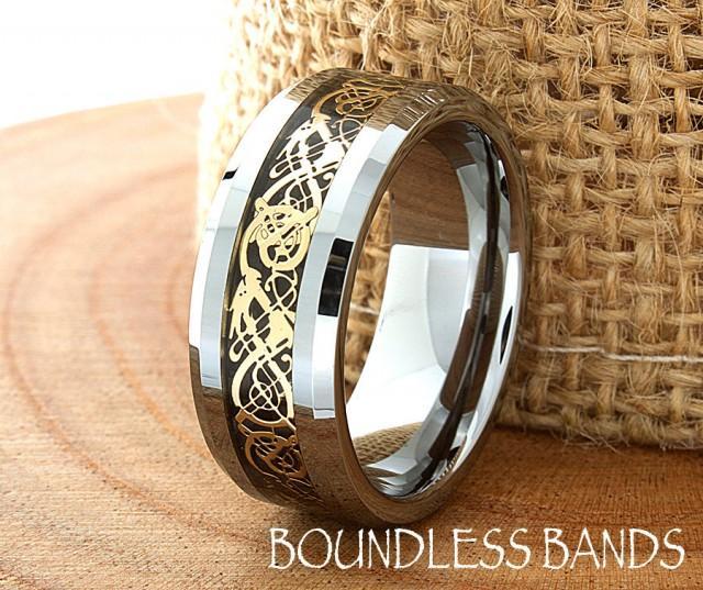 Celtic Dragon Wedding Band Flat High Polished Customized Tungsten
