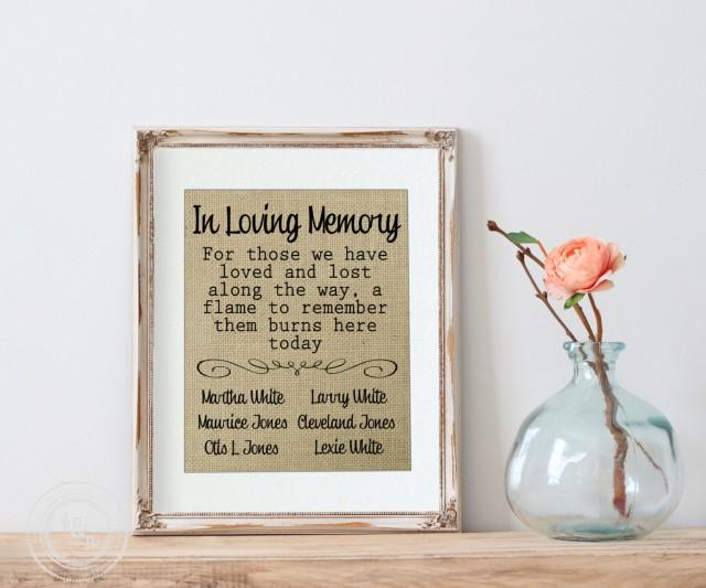 Wedding Remembrance In Loving Memory Wedding Burlap Print