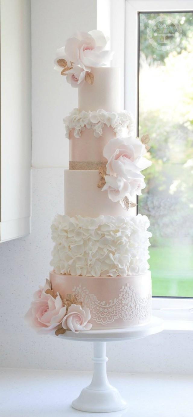 Cake - Light Pink And White Flower Wedding Cake #2698724 - Weddbook