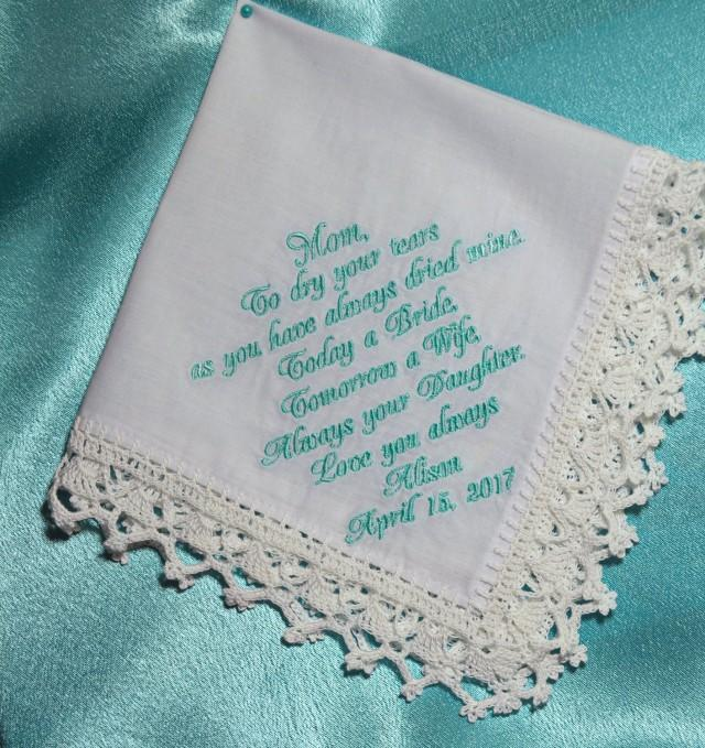 Wedding Gifts From Mother To Daughter: Wedding Gift For Mom From Daughter Wedding Handkerchief
