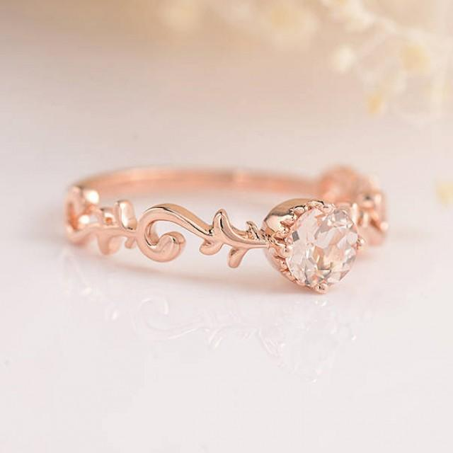 Bridal Set Morganite Engagement Ring Rose Gold Diamond Wedding