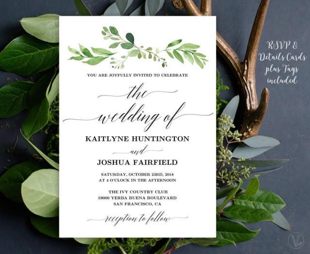 greenery wedding invitation  printable garden greenery