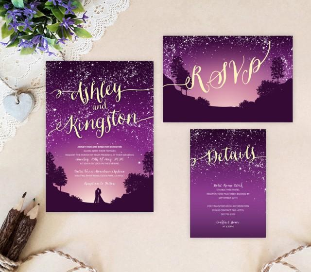 Purple Starry Night Wedding Invitation Bundle #2702857