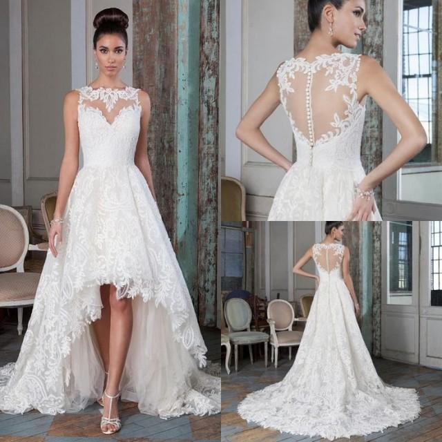 Simple Low Key Wedding Dresses: Plus Size Lace A Line Wedding Dresses 2016 High Low Court