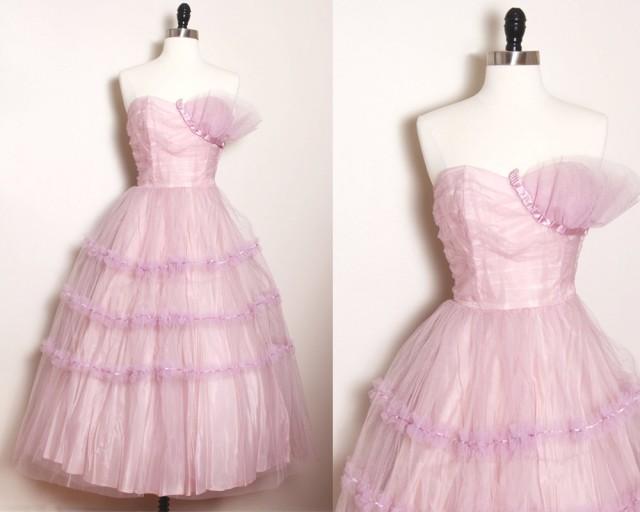Vintage 50s LILAC Party Prom Dress/ Vintage Prom Dress/ Vintage ...