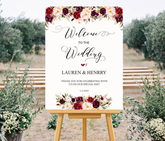 Printable Wedding Welcome Sign Templates, Floral Wedding Sign ...