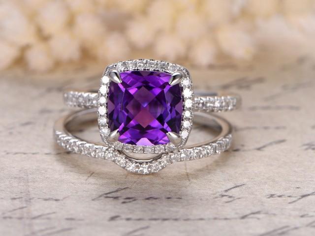 Amethyst Engagement Ring Set 8mm Cushion Cut Stone 14k