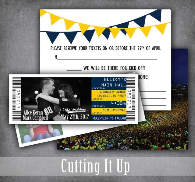 Football Wedding Invitations Ticket Invitation Sport Rsvp Michigan Wolverines West Virginia Mountaineer Custom 2705249