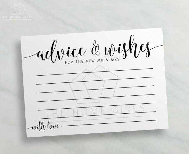 Advice And Wishes Cards Mr And Mrs / Calligraphy Printable
