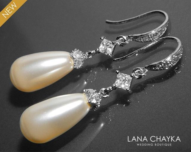 Bridal Teardrop Pearl Earrings Swarovski Ivory Pearl Wedding ...