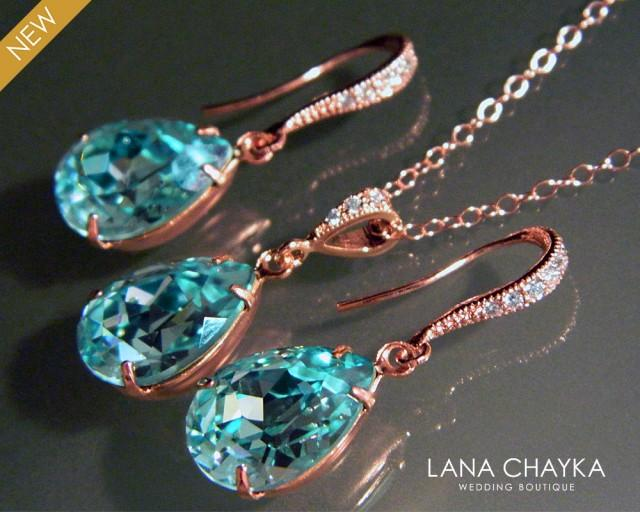 Light Turquoise Rose Gold Jewelry Set Teal Pink Gold
