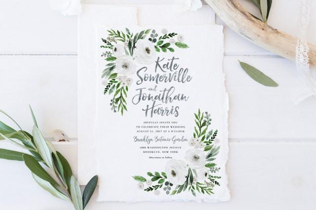 White And Green Wedding Invitations: Wedding Invitation Set, Printable Spring Summer Wedding