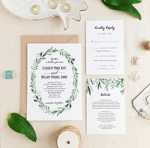 Greenery Wedding Invitation Template O Printable